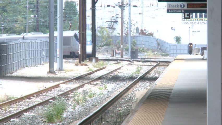 BALTIMORE, MD, - 2014: Amtrak Acela Train arrives at Baltimore Penn Station
