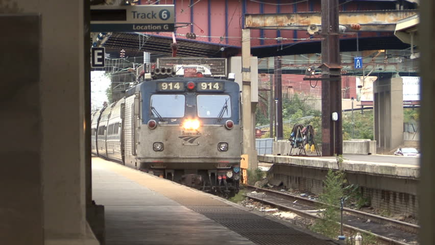 BALTIMORE, MD, - 2014: Amtrak Train arrives at Baltimore Penn Station