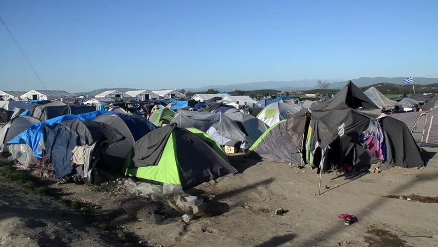 Idomeni refugee camp in Greece.  Border between Greece (EU) and North Macedonia. Tents in migrant camp.  Thousands of refugees and migrants are trapped and stuck at the closed border. Balkan Route.