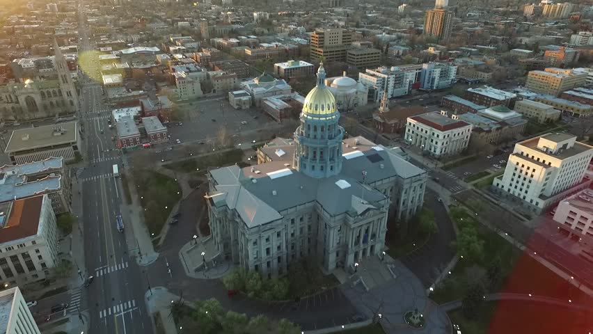 Aerial Drone Footage of Colorado Capitol in Denver at Sunrise