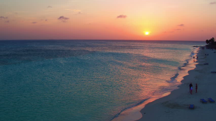 Aerial from Manchebo beach at sunset on Aruba island in the Caribbean Sea