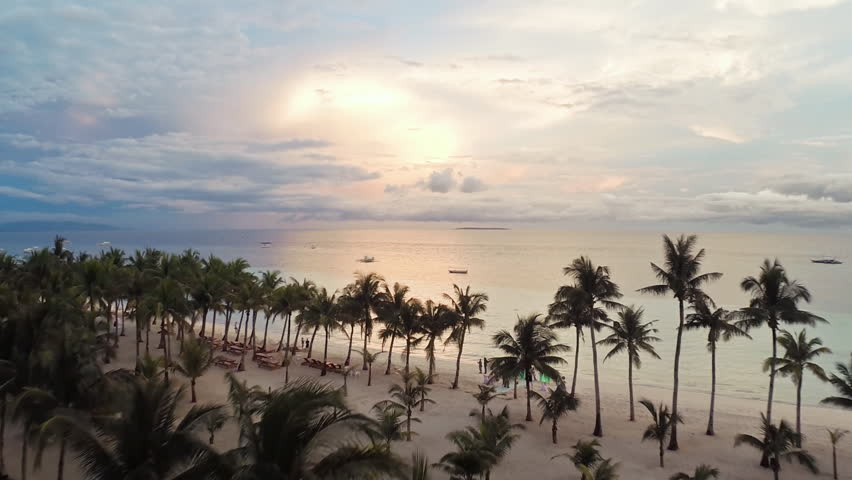 White beach with people in the evening. Philippines. Aerial view. | Shutterstock HD Video #16617439