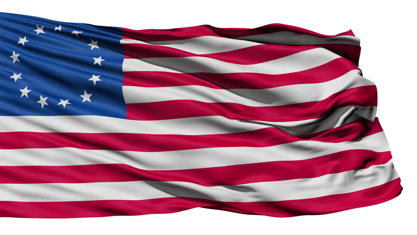 United States Betsy Ross Flag, the first flag of the US with 13 stars and said to be created by Betsy Ross