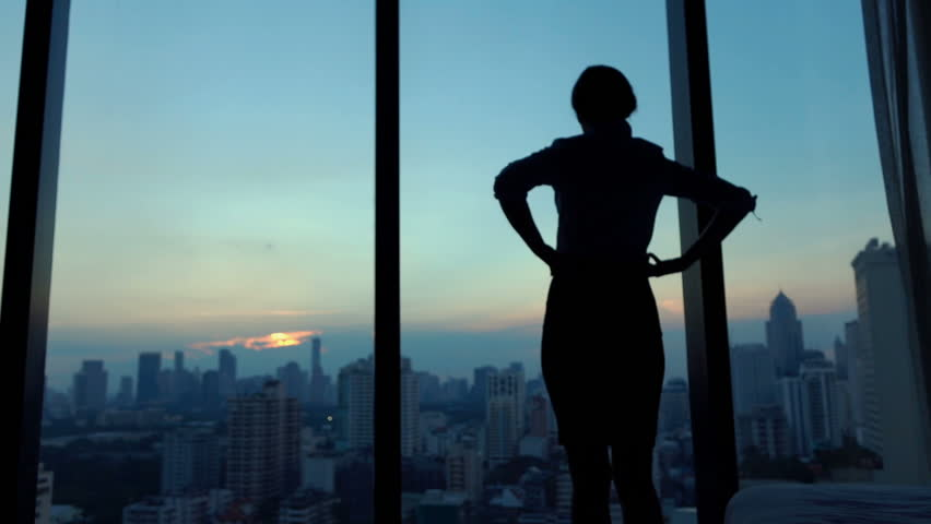 Young businesswoman admire cityscape at night, slow motion  #16666318