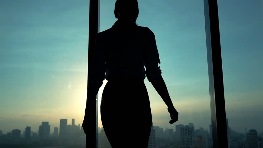 Young woman admire cityscape during sunset, slow motion  #16666342