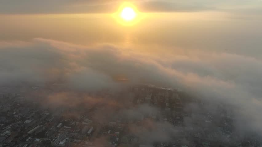 Cape Town Flying Over Orange Clouds at Sunset - 4K Drone Footage | Shutterstock HD Video #16672363