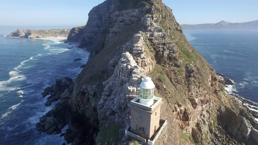 Cape Point, Cape Town Flying Back and Look Up Reveal Shot - 4k Drone Footage