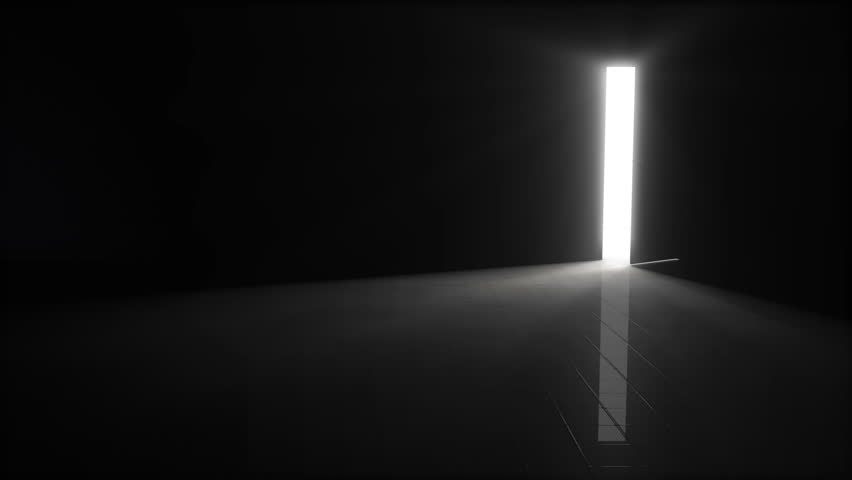 A Door Opening To Dark Room With Bright Light Shining In Background 3D Illustration 4K Resolution 6 Seconds