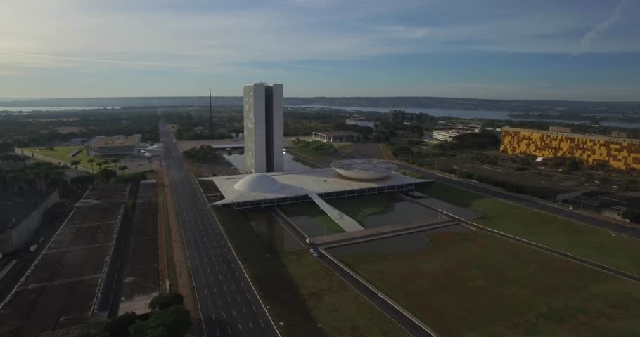 Brasilia tracking aerial of the Congresso Nacional (National Congress) buildings in Brasilia, capital of Brazil