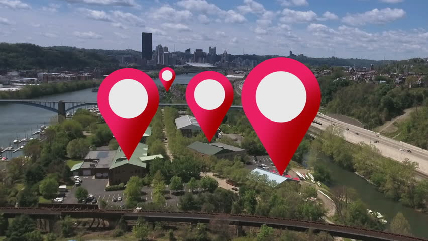 Simulated GPS location markers are placed on businesses in a city's suburbs. #16733080