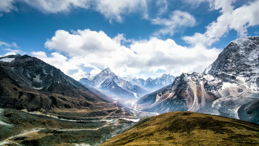 4k Timelapse, View of the magical Himalayas (Ama Dablam view, from Awi peak, 5200 m). Awi peak is a part of Everest Base Camp trek, one of the most popular trekking routes in the Himalayas. #16742758