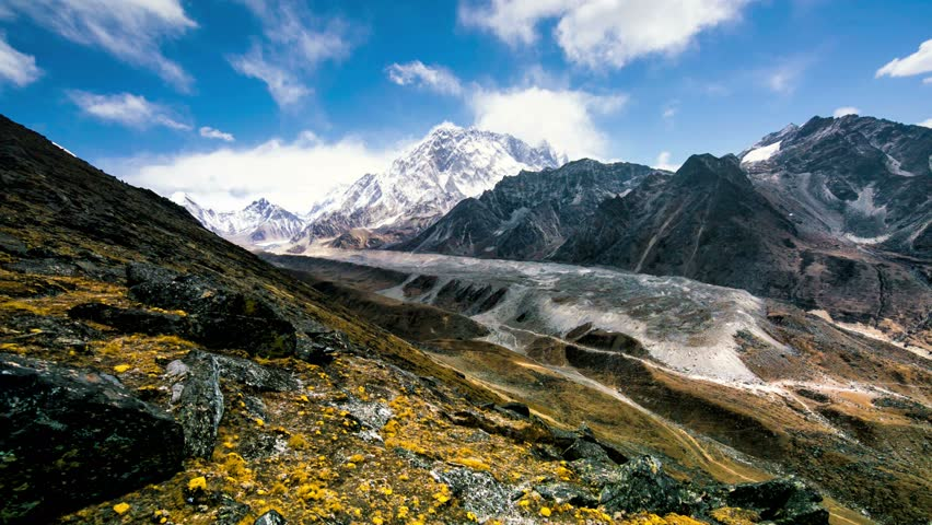 4k Timelapse, View of the magical Himalayas (EBC and Khumbu glacier view from Awi peak, 5200 m). Awi peak is a part of Everest Base Camp trek, one of the most popular trekking routes in the Himalayas. #16742761