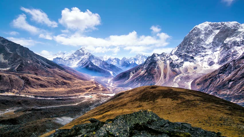 4k Timelapse, View of the magical Himalayas (Ama Dablam view, from Awi peak, 5200 m). Awi peak is a part of Everest Base Camp trek, one of the most popular trekking routes in the Himalayas. Royalty-Free Stock Footage #16742764