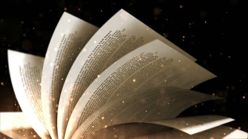 Turning pages of old book with a magic dust against a black background. Loop.