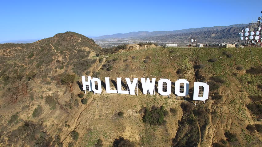 Time ramp aerial shot of Hollywood sign - Los Angeles, California, 2016. Circa february