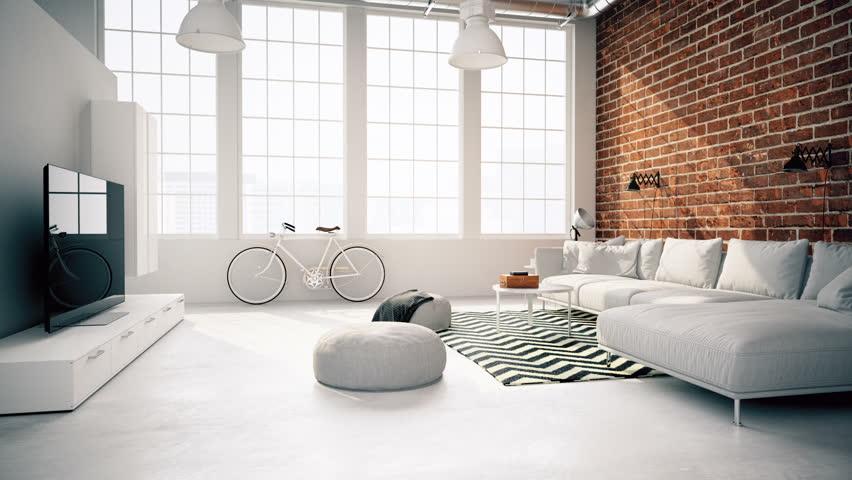 3d rendering. modern living room in a loft. | Shutterstock HD Video #16767211