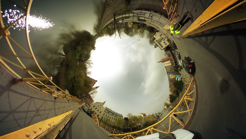 Walkers, People and Cars on a Bridge Through River, Vintage Buildings, Cityscape, vr Video 360, Little Planet Video, Video For Virtual Reality, Time Lapse, Yellow Rails of the Bridge, Cars Are Driven | Shutterstock HD Video #16767355