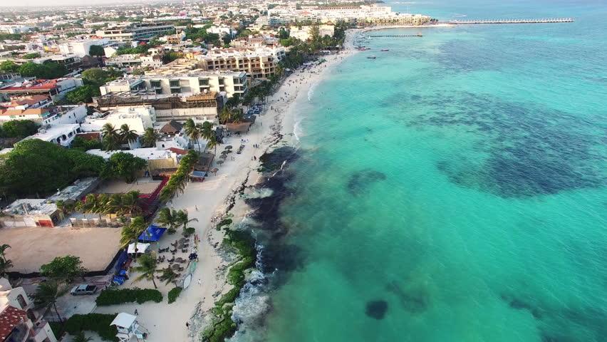 4K Aerial drone shot mexico playa del carmen hotels | Shutterstock HD Video #16786699