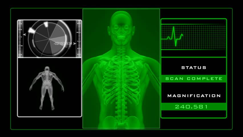 X-ray scanning man - green