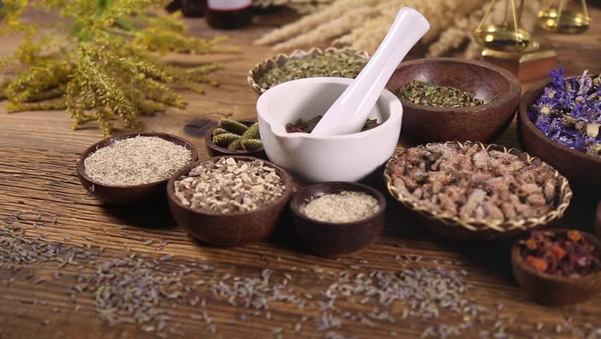 Fresh medicinal herbs on wooden  | Shutterstock HD Video #16796536