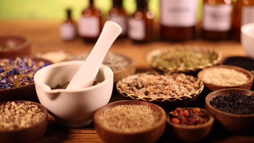 Assorted natural medical herbs and mortar   Shutterstock HD Video #16800703