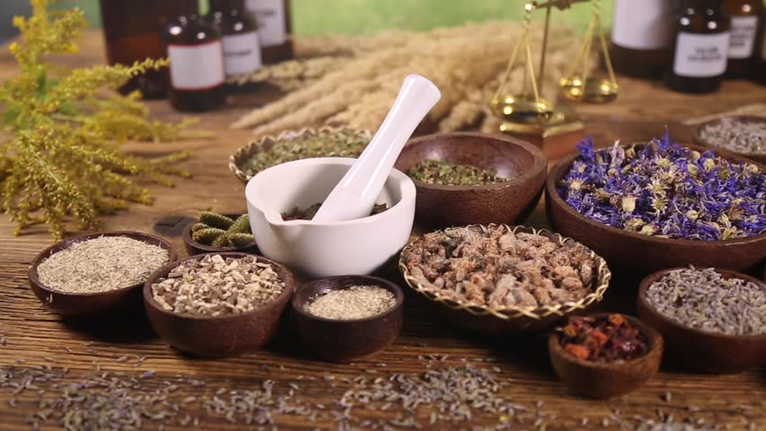 Assorted natural medical herbs and mortar | Shutterstock HD Video #16800712