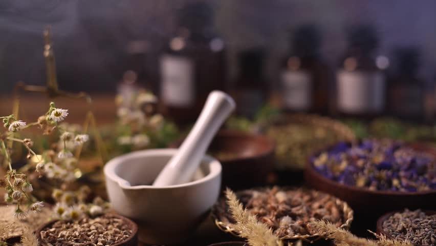 Fresh medicinal herbs on wooden  | Shutterstock HD Video #16802005