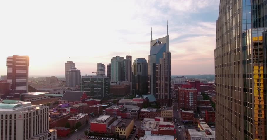 Downtown Nashville Skyline Dusk Batman Building