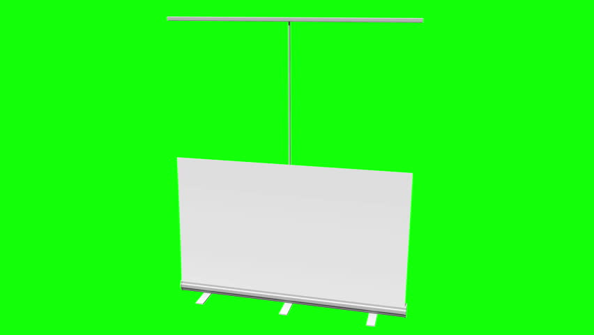 Blank Roll Up Banner Stand. Trade show booth white and blank. 3d motion graphic on green screen chroma key background. Available in 4K FullHD and HD video render footage. | Shutterstock HD Video #16847248