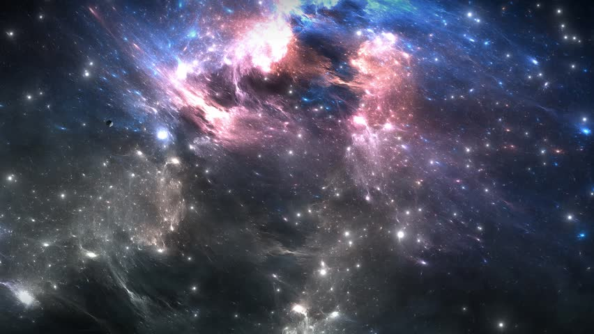 Space flight through nebula. Space travel. Space animation background with colorful nebula, many stars for different projects