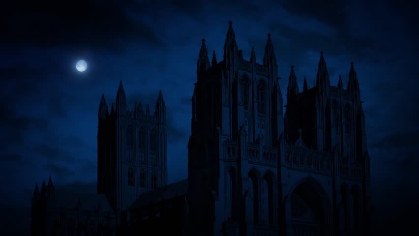 Cathedral At Night With Moon   Shutterstock HD Video #16864423