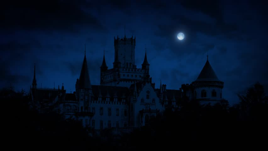 Gothic Castle At Night With Full Moon | Shutterstock HD Video #16864438