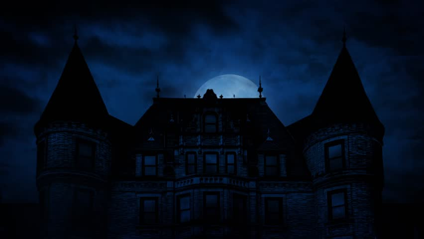 Large Moon Rises Behind Scary Mansion   Shutterstock HD Video #16890382