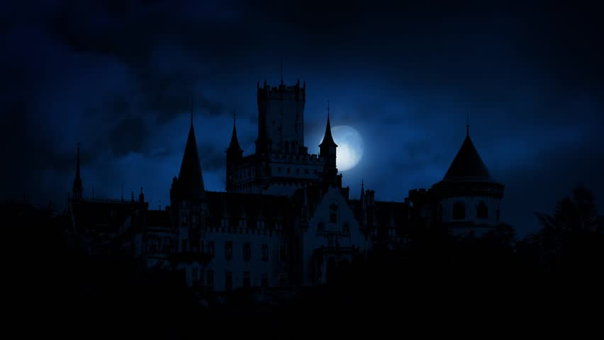 Moon Rises Behind Large Gothic Castle | Shutterstock HD Video #16890412
