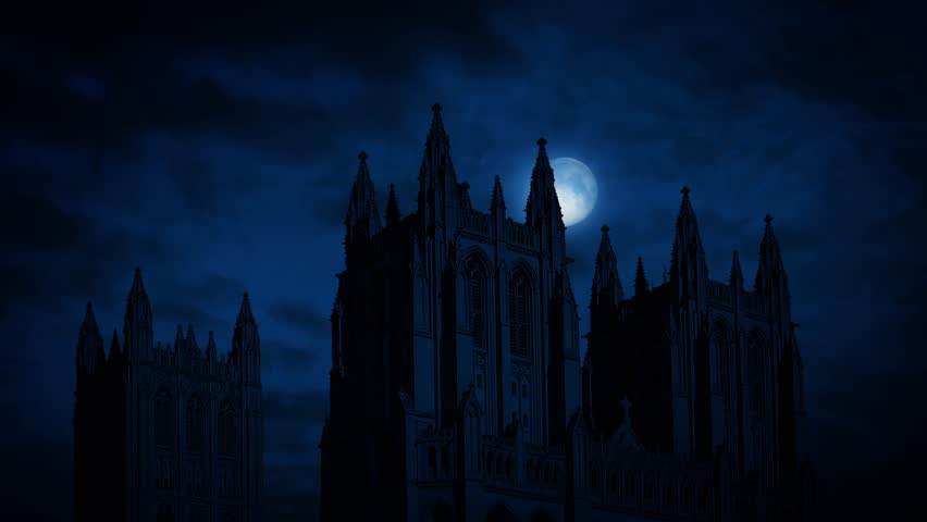Moon Moves Behind Gothic Cathedral   Shutterstock HD Video #16890415