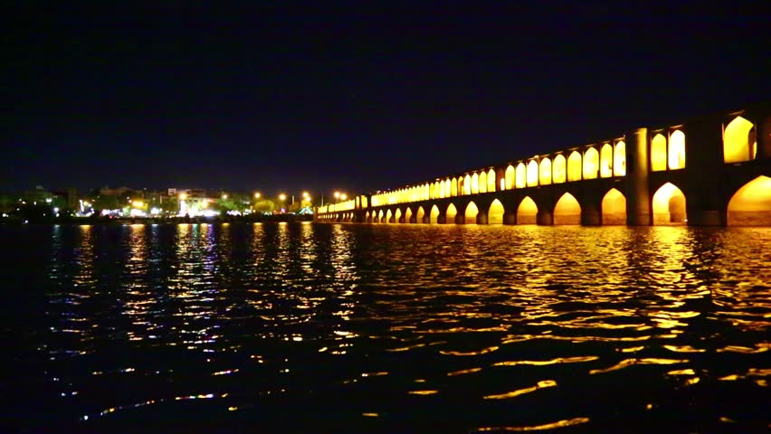 in iran   the old bridge of isfahan for light and night