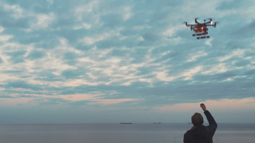 Custom drone hexacopter lands on your hands