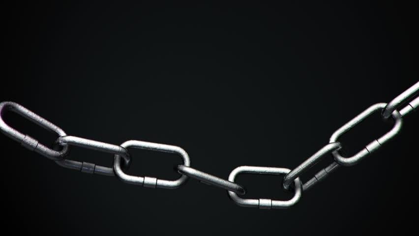 4k Metal Chain links going limp then tightened until the weakest link explodes
