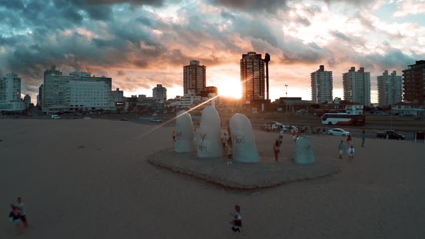 Punta del Este, Uruguay - March 16, 2015: Tourists visiting Brava Beach in Punta del Este, Uruguay #16900906