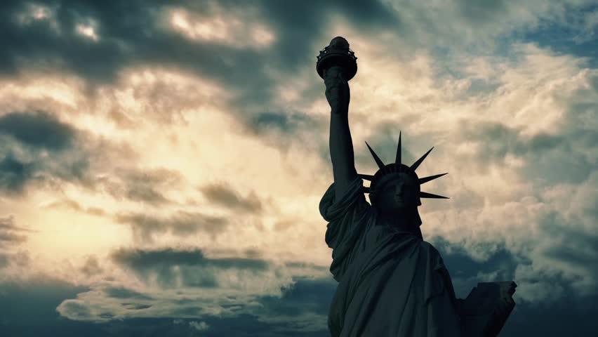 Statue Of Liberty Dark On Sunset | Shutterstock HD Video #16912813