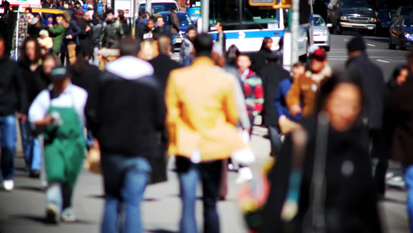 Crowds of people on New York City street | Shutterstock HD Video #1694029