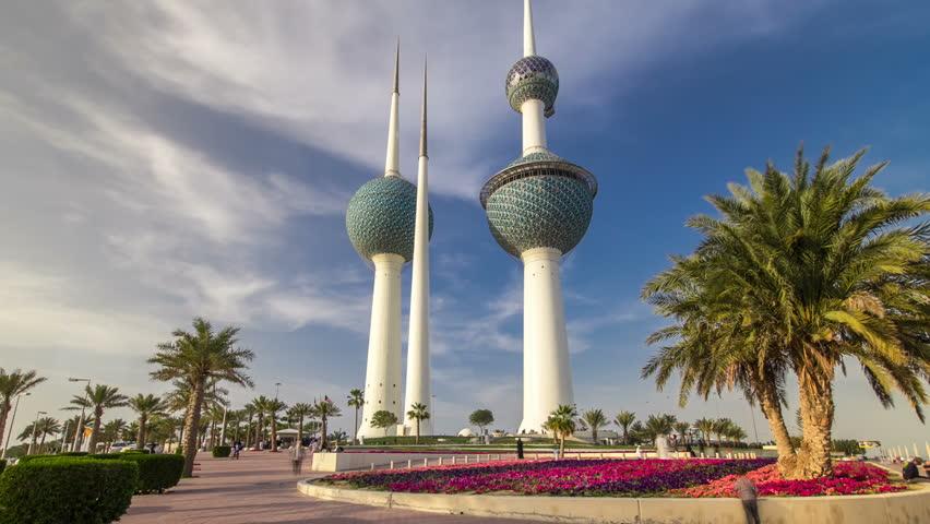 The Kuwait Towers timelapse hyperlapse - the best known landmark of Kuwait City. Kuwait, Middle East | Shutterstock HD Video #16953748