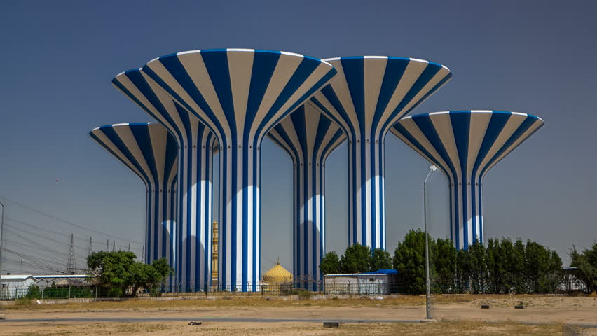 Blue and white water towers in Kuwait timelapse hyperlapse, Middle East