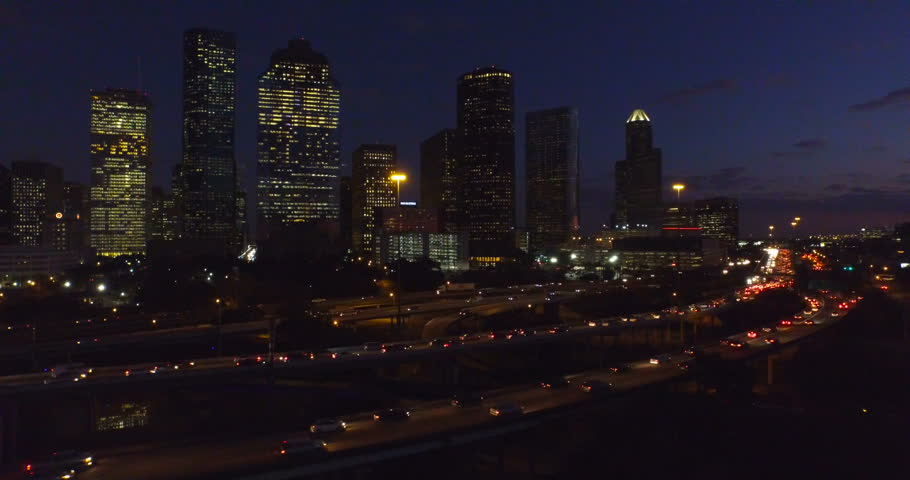 Aerial video of the Houston skyline at night.