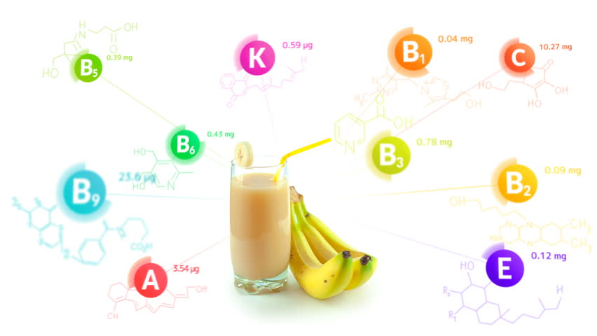 Vitamins fly out of the glass of banana smoothie and a bunch of bananas