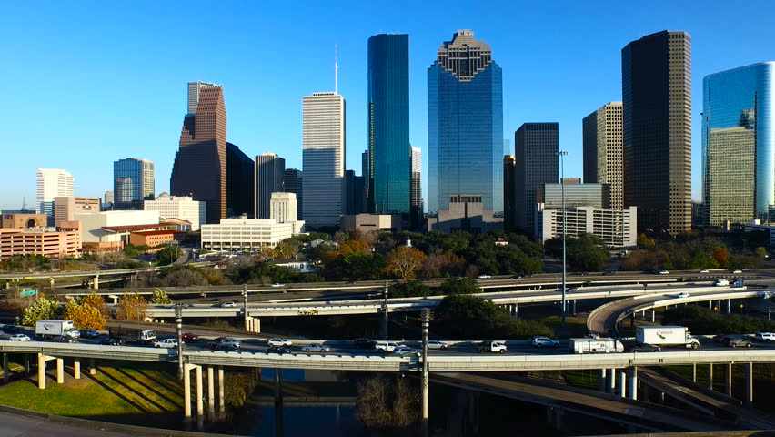 Drone view of Houston skyline from the West.