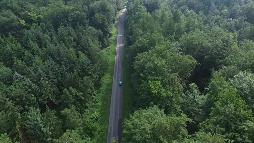 Aerial Drone flight over a country road in the North European Forests  #16988803