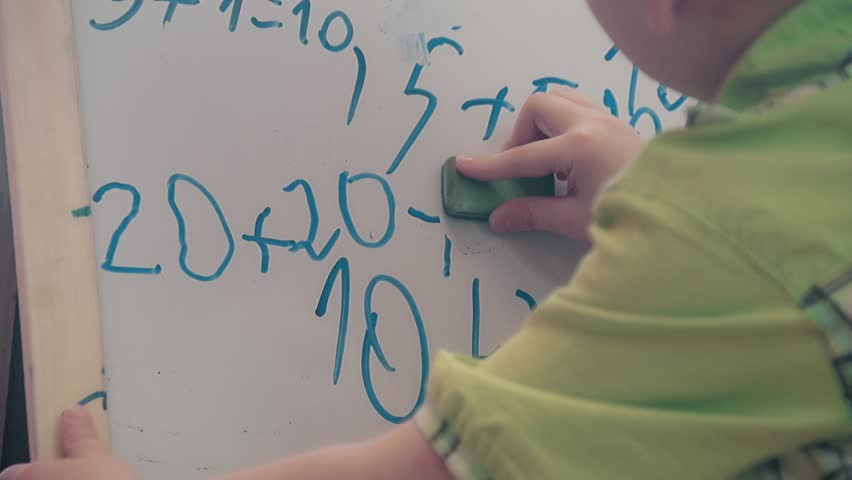 The schoolboy cleans a board, what he wrote earlier, close-up | Shutterstock HD Video #16989211