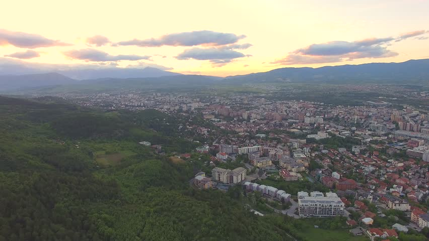 Aerial drone footage of Skopje Macedonia
