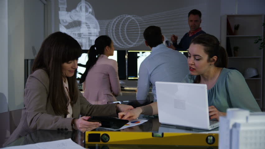 4K Team of architects or engineers, working on a project using computer software. Shot on RED Epic. UK - April, 2016 | Shutterstock HD Video #17026450